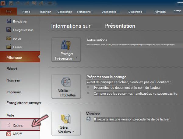 Sous l'onglet fichiers du ruban dans PowerPoint 2010, cliquez sur Options