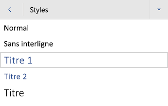 Menu Styles de titres dans Word pour Android