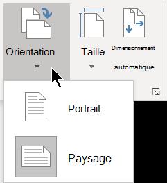 Dans l'onglet création, le menu orientation vous permet de sélectionner l'orientation portrait ou paysage d'une page Visio.