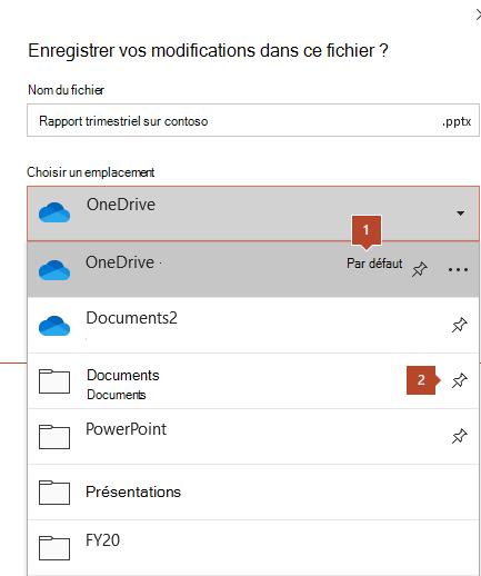 Boîte de dialogue Enregistrer dans Microsoft Office 365 affichant une liste de dossiers.