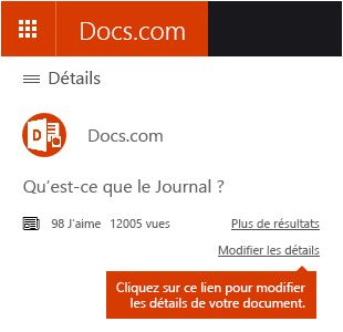 Option Modifier les détails de Docs.com