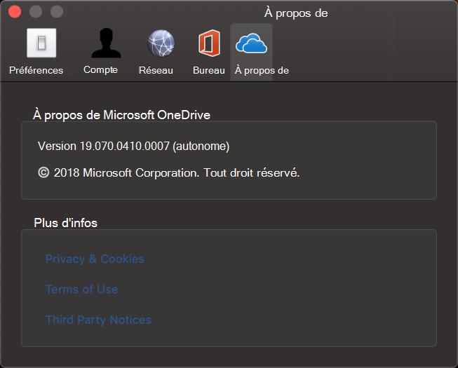 OneDrive pour Mac - IU À propos de