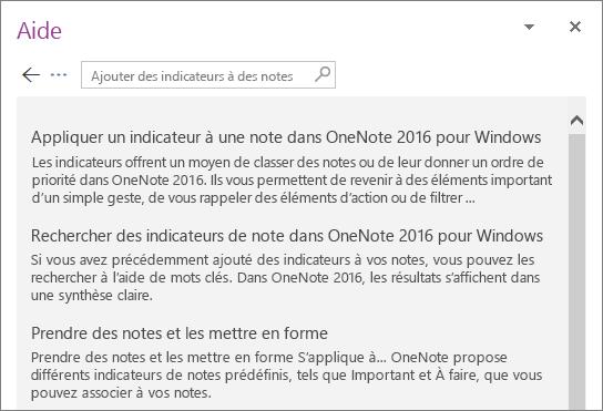 Capture d'écran du volet d'aide de OneNote affichant des résultats de recherche pour les notes avec indicateur.