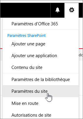 Paramètres du site à partir de la bibliothèque de documents