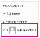 Outlook Web App avec un calendrier de boîte aux lettres partagée sélectionné
