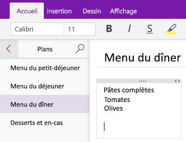 Capture d'écran d'un conteneur de notes sur une page dans OneNote