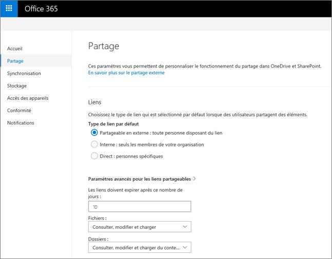 Paramètres de lien de la page de partage du centre d'administration OneDrive