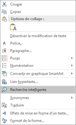 Option «Recherche intelligente» dans PowerPoint