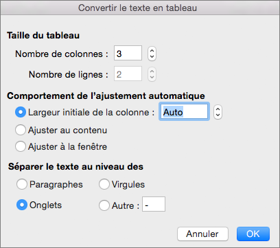 Options de conversion de texte en tableau