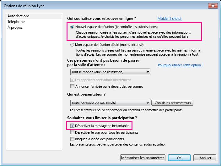 Capture d'écran de la fenêtre d'options de désactivation de la messagerie instantanée dans une réunion Lync
