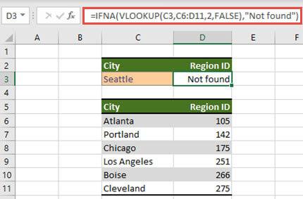 Image de l'utilisation d'IFNA avec la rechercheV pour empêcher l'affichage #N/A d'erreurs.