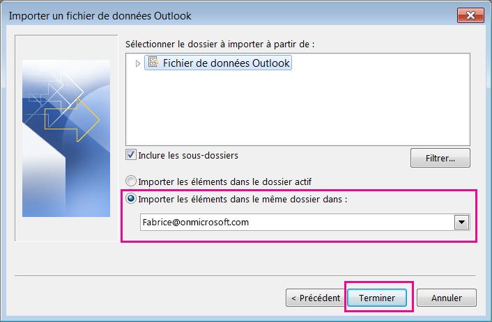 Cliquez sur Terminer pour importer le fichier .pst Outlook dans votre boîte aux lettres Office365.