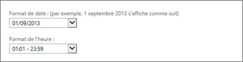 Paramètres de format des date et heure d'Outlook Web App