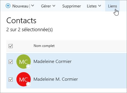 Capture d'écran du bouton Lier dans la page Contacts.