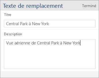 Capture d'écran de la boîte de dialogue du texte de remplacement dans Word Mobile contenant les champs Titre et Description
