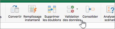 Menu de données de barre d'outil Excel avec l'option Validation des données sélectionnée