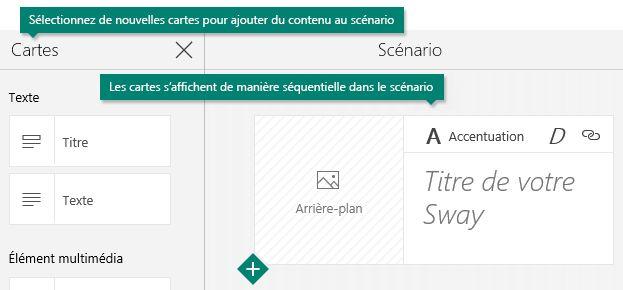Volet Office Cartes et scénario Sway