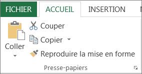 Boutons Copier et Coller sous l'onglet Accueil