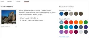 Capture d'écran: Page de marque du profil d'entreprise: Ajoutez le logo de votre entreprise et sélectionnez la couleur de votre marque