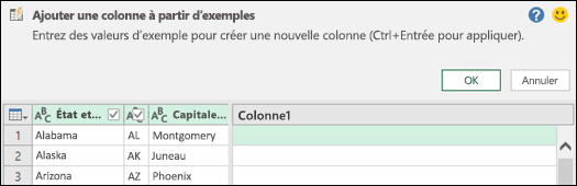 Power Query combiner colonne à partir du volet d'exemple