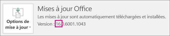 Montre comment déterminer la version d'Office que vous utilisez.