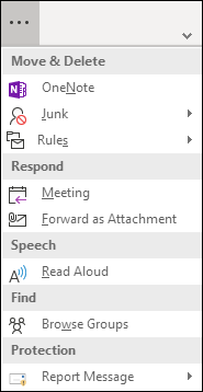 Cliquez sur les trois points pour afficher une liste d'éléments de menu supplémentaires sur le ruban simplifié.