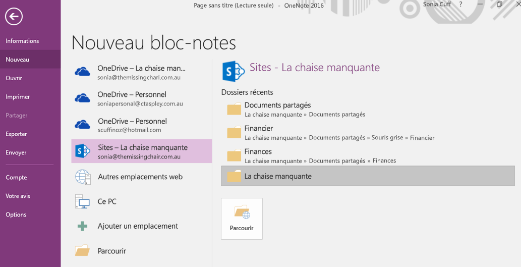 OneNote pour Windows 2016 - Interface de sélection d'un nouveau dossier de bloc-notes