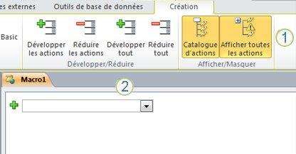 Onglet de création de macros Access2010