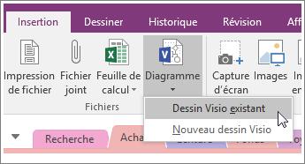 Capture d'écran du bouton Insérer un schéma dans OneNote2016