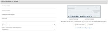 Capture d'écran: Lier votre compte bancaire en réservations en entrant des numéros de nom, le routage et compte bancaire