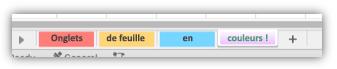Capture d'écran d'onglets de feuille de calcul avec des couleurs qui remplissent tout l'onglet.