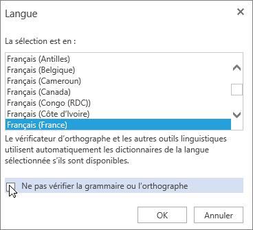 Boîte de dialogue Langue