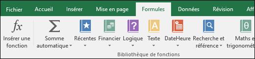 Onglet formules Excel sur le ruban