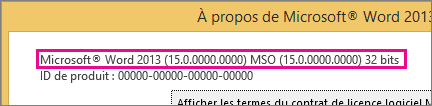 Numéro de version d'Office