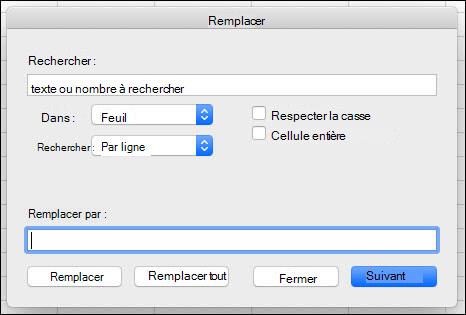 Remplacer du texte ou des nombres dans un classeur ou une feuille de calcul en appuyant sur Ctrl + H