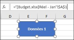 Forme sélectionnée pour afficher le nom du lien dans la barre de formule