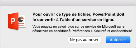 Avertissement relatif à la confidentialité ODF dans PowerPoint2016 pour Mac