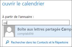 Boîte de dialogue Ouvrir d'Outlook Web App