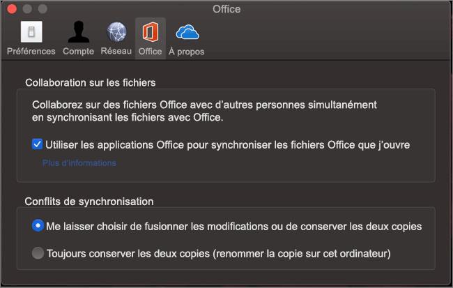 Onglet Office dans Microsoft OneDrive avec l'option «synchroniser Office» sélectionnée