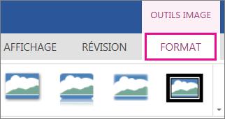 Image des options de Format dans le ruban Outils Image