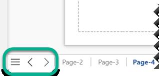 Il existe trois boutons de navigation à l'extrémité gauche de la barre des onglets de page, sous la zone de dessin.