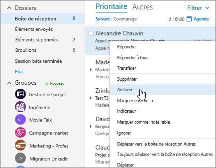 Capture d'écran de la boîte de réception, affichant le menu contextuel sur un courrier, avec l'option Archiver sélectionnée.