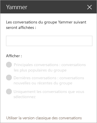 Barre de composants WebPart recherche Yammer