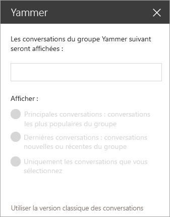 Barre de recherche du composant WebPart Yammer