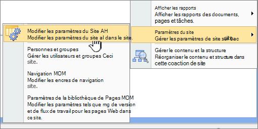 Modifier toutes les option Paramètres de site sous Paramètres du site