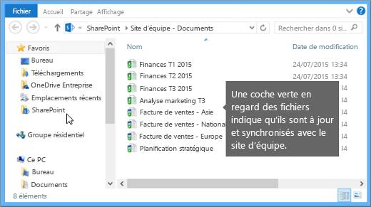 Utilisez l'Explorateur de fichiers pour accéder au fichier synchronisé sur votre ordinateur de bureau. Il se trouve dans le dossier SharePoint.