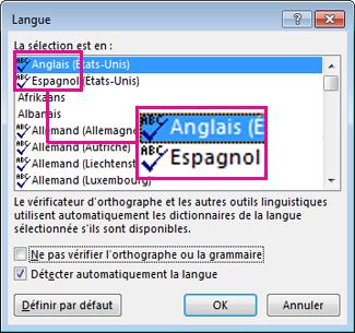 L'icône Vérifier l'orthographe et la grammaire