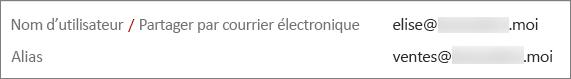 Cet utilisateur dispose d'une adresse principale et d'un alias.