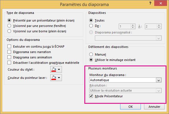 Options de moniteur dans la boîte de dialogue Paramètres du diaporama