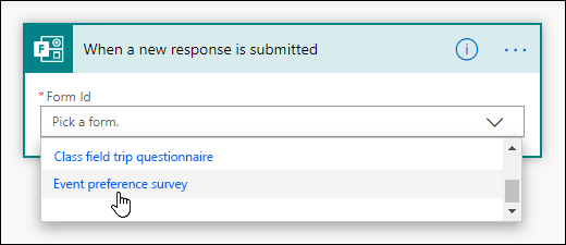 Choisissez un formulaire pour votre déclencheur dans Power Automate